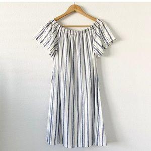 Topshop Blue White Pinstripe Off Shoulder Dress